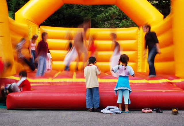 bouncy castle with kids