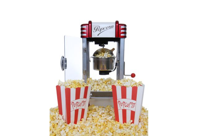 Popcorn machine with two buckets